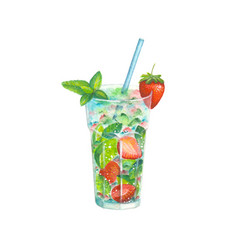 watercolor strawberry mojito cocktail vector image
