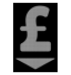 White halftone pound down icon vector