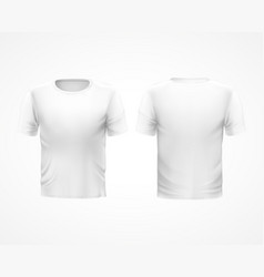 white t-shirt with short sleeves and round neck vector image