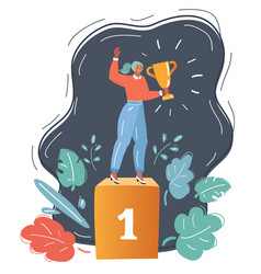Woman holding number one gold trophy vector