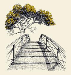 Wooden bridge arch blooming tree vector