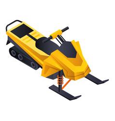Yellow snowmobile icon isometric style vector