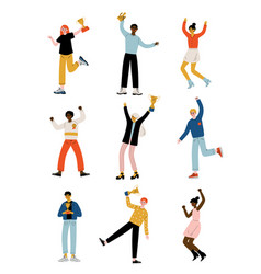 young people with winner cups set happy positive vector image
