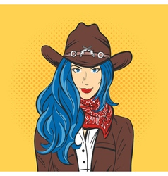 Young pretty girl in cowboy hat Pop art style Wild vector