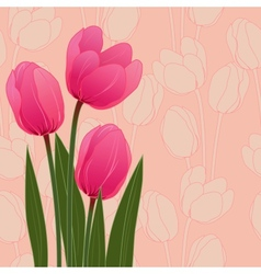 Abstract floral with tulips on blue background vector image vector image