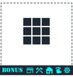 Building block icon flat vector