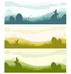 easter banners with silhouettes vector image vector image