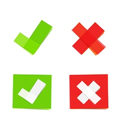 green and red check mark icons vector image