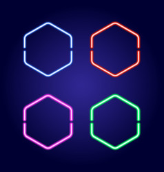 Hexagonal neon glowing frames in different colors vector