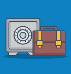 Safe box and briefcase icon vector
