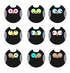 Various of owls icons set vector image