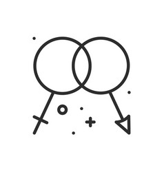 gender line icon men and women sex sign and vector image