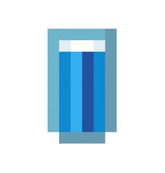 glass water drink pixel art cartoon retro game vector image