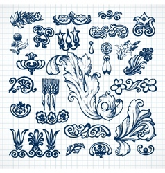 Leaves sketch set vector image