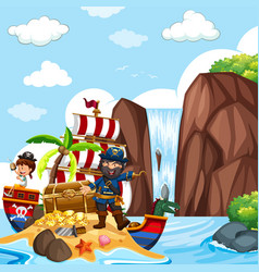 scene with pirate and treasure chest by the vector image vector image