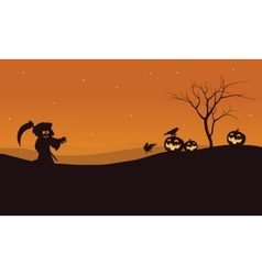 Silhouette of Halloween warlock and pumpkins vector image vector image