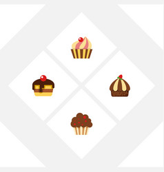 flat cake set of cupcake dessert sweetmeat and vector image vector image