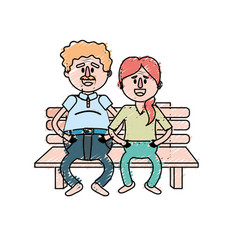 Old couple in the chair with hairstyle vector