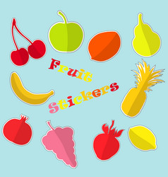 set with flat fruit stickers vector image