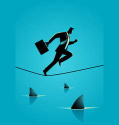 businessman running on rope with sharks underneath vector image