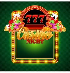Casino background with cards chips craps vector image vector image