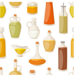 Different food oil in bottles seamless pattern vector