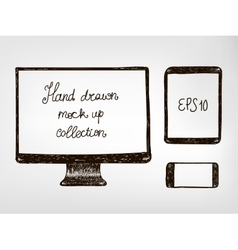 Hand drawn doodle electronic devices mockup set vector image