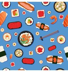 Japanese Food Seamless Pattern Sushi vector image vector image
