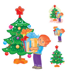 little boy holds in hands christmas presents vector image vector image