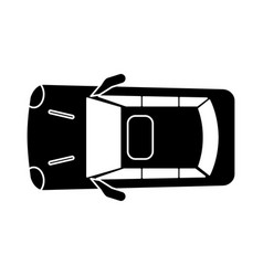 Silhouette car parking top view vector