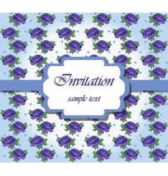 Vintage Card with Watercolor blue roses vector image