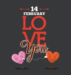 14 february love you cartoon hearts love card vector image
