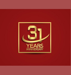 31 years anniversary with square and swoosh vector