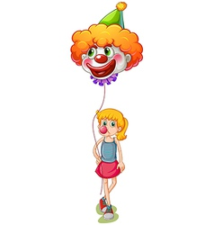 A tall girl holding a clown balloon vector image