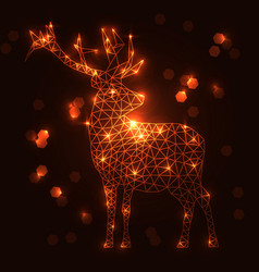 abstract polygonal deer with shining lamps effect vector image