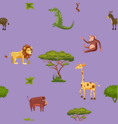 animals africa lion giraffe monkey crocodile boar vector image