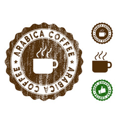 Arabica coffee stamp seal with grunge surface vector
