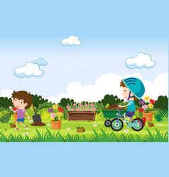 background scene with kids playing in park vector image