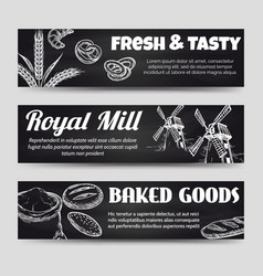 Bakery chalkboard banners template set vector