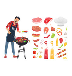 Bbq serving man and icons set vector