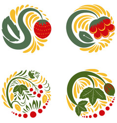 beautiful floral khokhloma patterns vector image