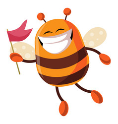 bee with flag is smiling on white background vector image