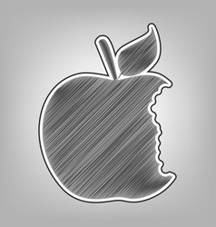 Bite apple sign pencil sketch imitation vector