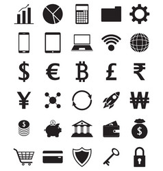 Black fintech flat icons on white background vector