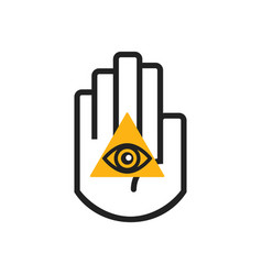 black line hand symbol holding orange seeing eye vector image