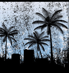 black silhouettes palm trees and city vector image