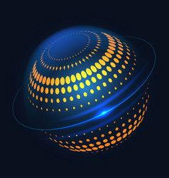 blue halftone curcular 3d shape design vector image