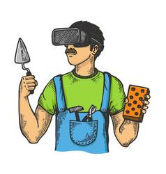 builder in virtual reality helmet sketch vector image