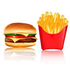 Burger and fries vector