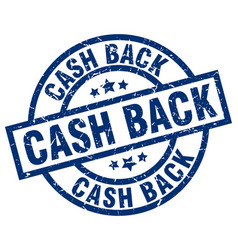 Cash back blue round grunge stamp vector